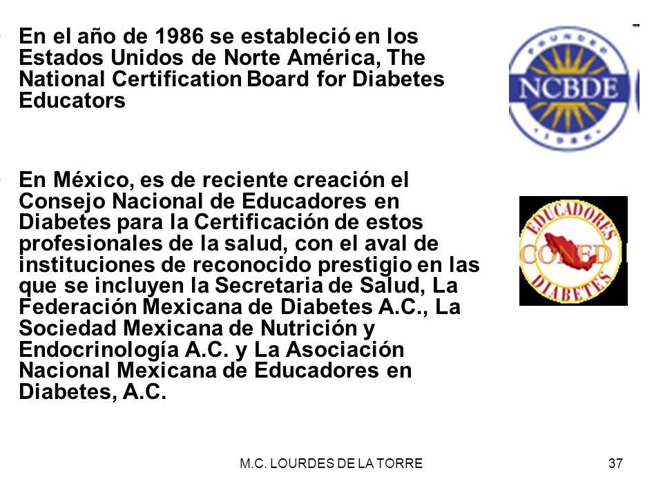 M.C. LOURDES DE LA TORRE37 En el año de 1986 se estableció en los Estados Unidos de Norte América, The National Certification Board for Diabetes Educa