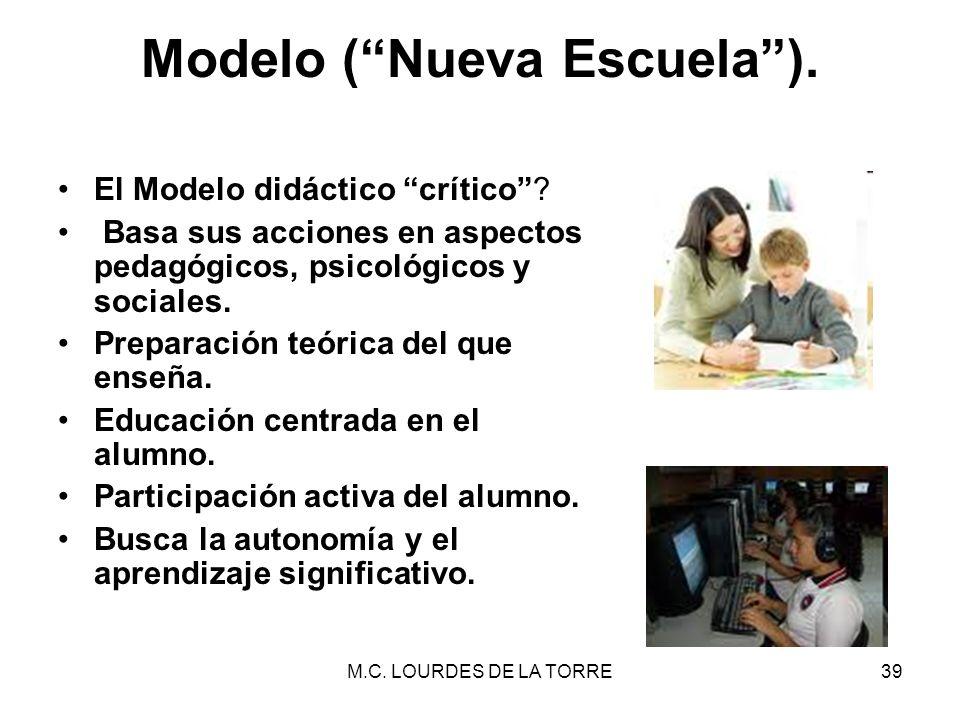 M.C. LOURDES DE LA TORRE39 Modelo (Nueva Escuela). El Modelo didáctico crítico? Basa sus acciones en aspectos pedagógicos, psicológicos y sociales. Pr