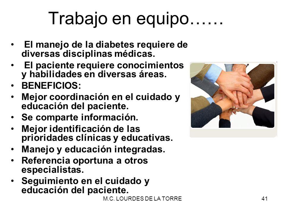 M.C. LOURDES DE LA TORRE41 Trabajo en equipo…… El manejo de la diabetes requiere de diversas disciplinas médicas. El paciente requiere conocimientos y