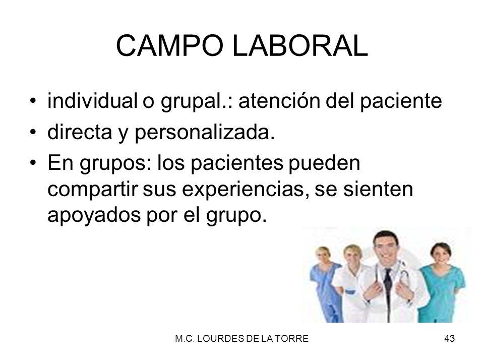 CAMPO LABORAL individual o grupal.: atención del paciente directa y personalizada. En grupos: los pacientes pueden compartir sus experiencias, se sien