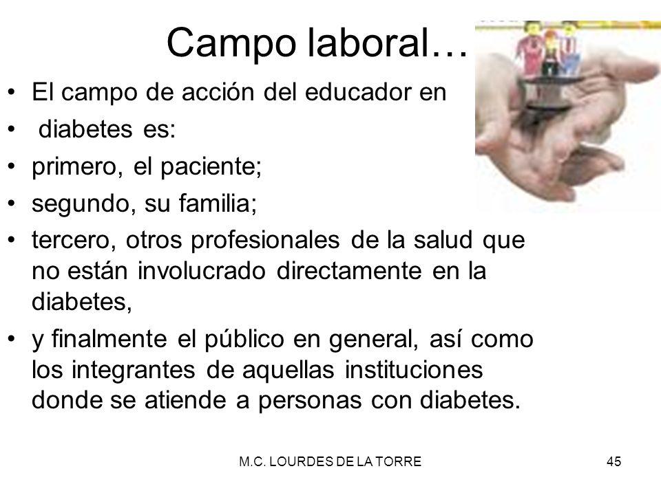 Campo laboral… El campo de acción del educador en diabetes es: primero, el paciente; segundo, su familia; tercero, otros profesionales de la salud que