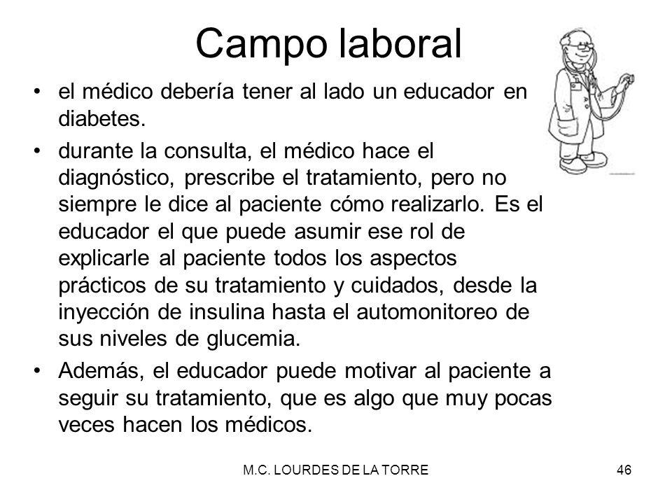 Campo laboral el médico debería tener al lado un educador en diabetes. durante la consulta, el médico hace el diagnóstico, prescribe el tratamiento, p
