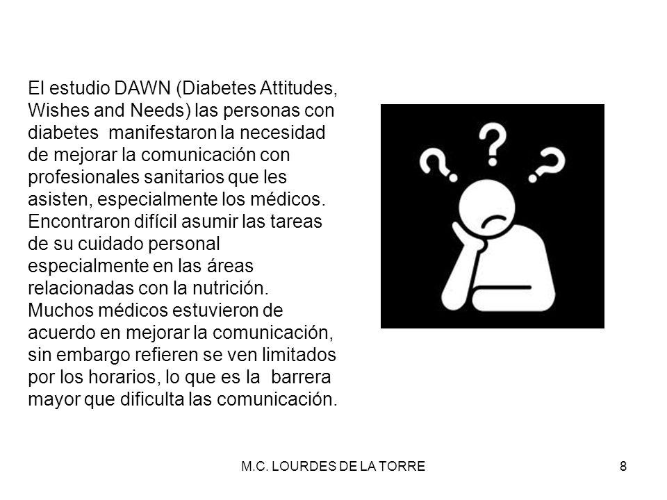 M.C. LOURDES DE LA TORRE8 El estudio DAWN (Diabetes Attitudes, Wishes and Needs) las personas con diabetes manifestaron la necesidad de mejorar la com