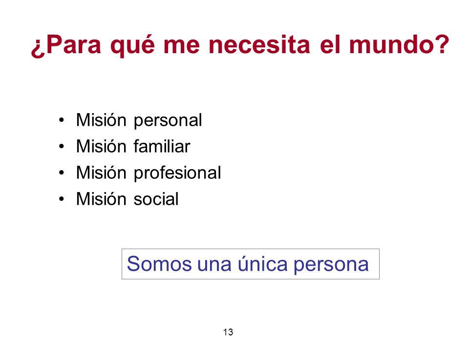 13 ¿Para qué me necesita el mundo? Misión personal Misión familiar Misión profesional Misión social Somos una única persona