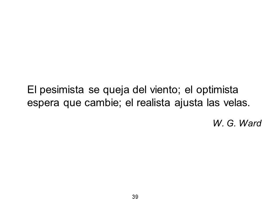 39 El pesimista se queja del viento; el optimista espera que cambie; el realista ajusta las velas. W. G. Ward