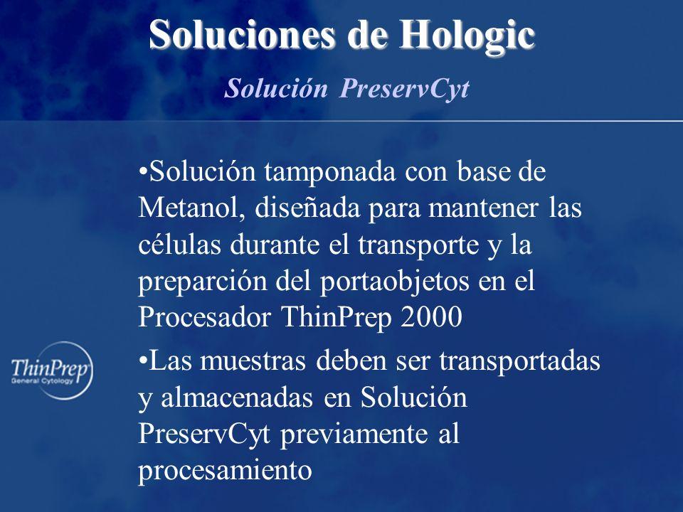 Solución tamponada con base de Metanol, diseñada para mantener las células durante el transporte y la preparción del portaobjetos en el Procesador ThinPrep 2000 Las muestras deben ser transportadas y almacenadas en Solución PreservCyt previamente al procesamiento Soluciones de Hologic Soluciones de Hologic Solución PreservCyt