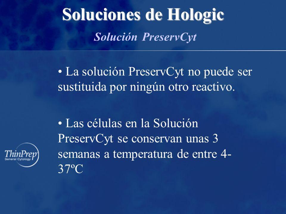 La solución PreservCyt no puede ser sustituida por ningún otro reactivo.