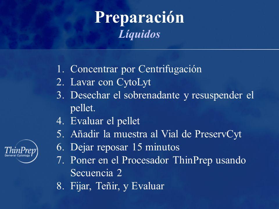 1.Concentrar por Centrifugación 2.Lavar con CytoLyt 3.Desechar el sobrenadante y resuspender el pellet.