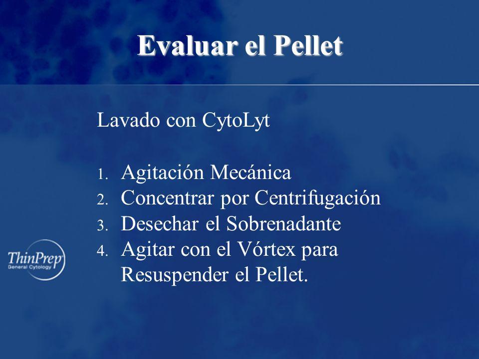 Evaluar el Pellet Lavado con CytoLyt 1. Agitación Mecánica 2.