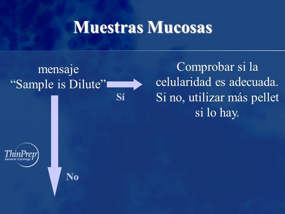 Muestras Mucosas mensaje Sample is Dilute No SíSí Comprobar si la celularidad es adecuada.