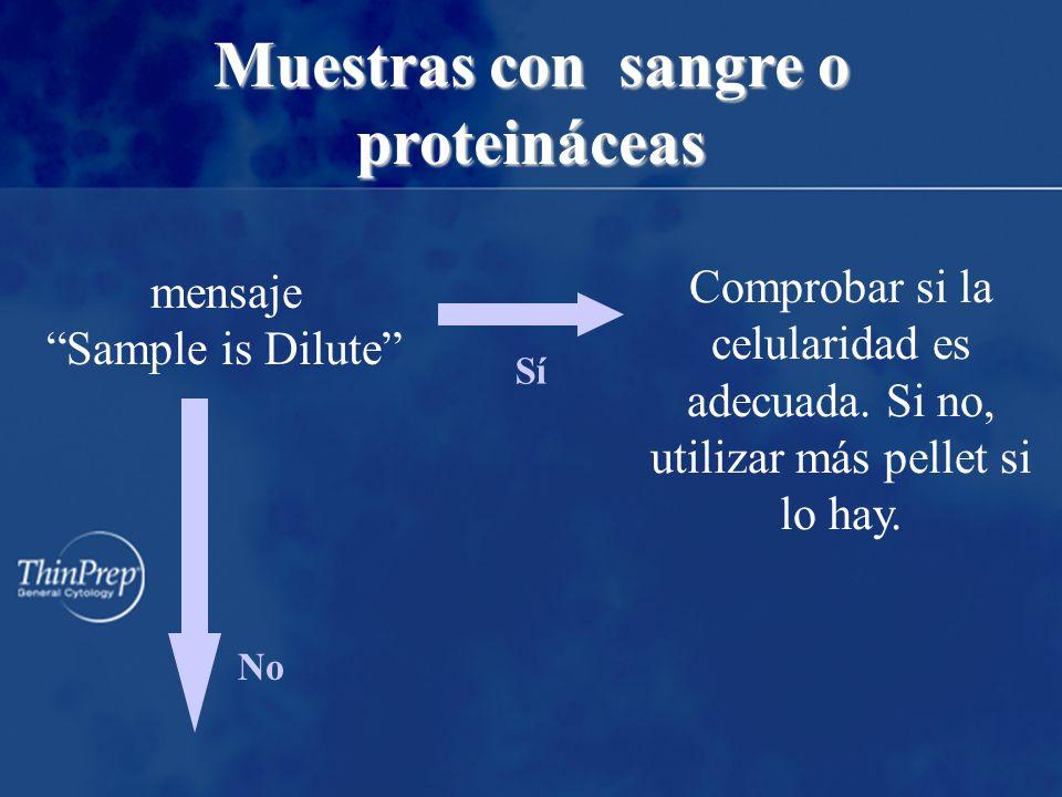 mensaje Sample is Dilute No Sí Comprobar si la celularidad es adecuada.