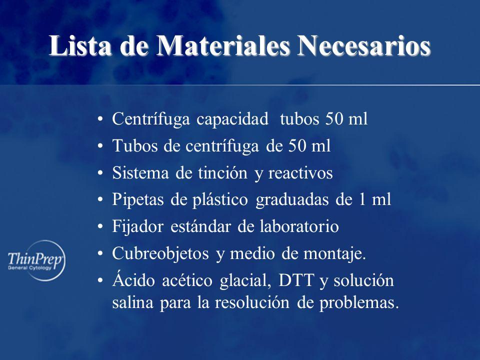 Lista de Materiales Necesarios Centrífuga capacidad tubos 50 ml Tubos de centrífuga de 50 ml Sistema de tinción y reactivos Pipetas de plástico graduadas de 1 ml Fijador estándar de laboratorio Cubreobjetos y medio de montaje.