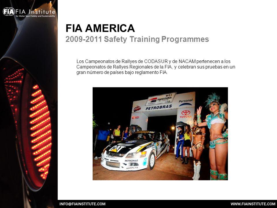 FIA AMERICA 2009-2011 Safety Training Programmes Los Campeonatos de Rallyes de CODASUR y de NACAM pertenecen a los Campeonatos de Rallyes Regionales de la FIA, y celebran sus pruebas en un gran número de países bajo reglamento FIA.