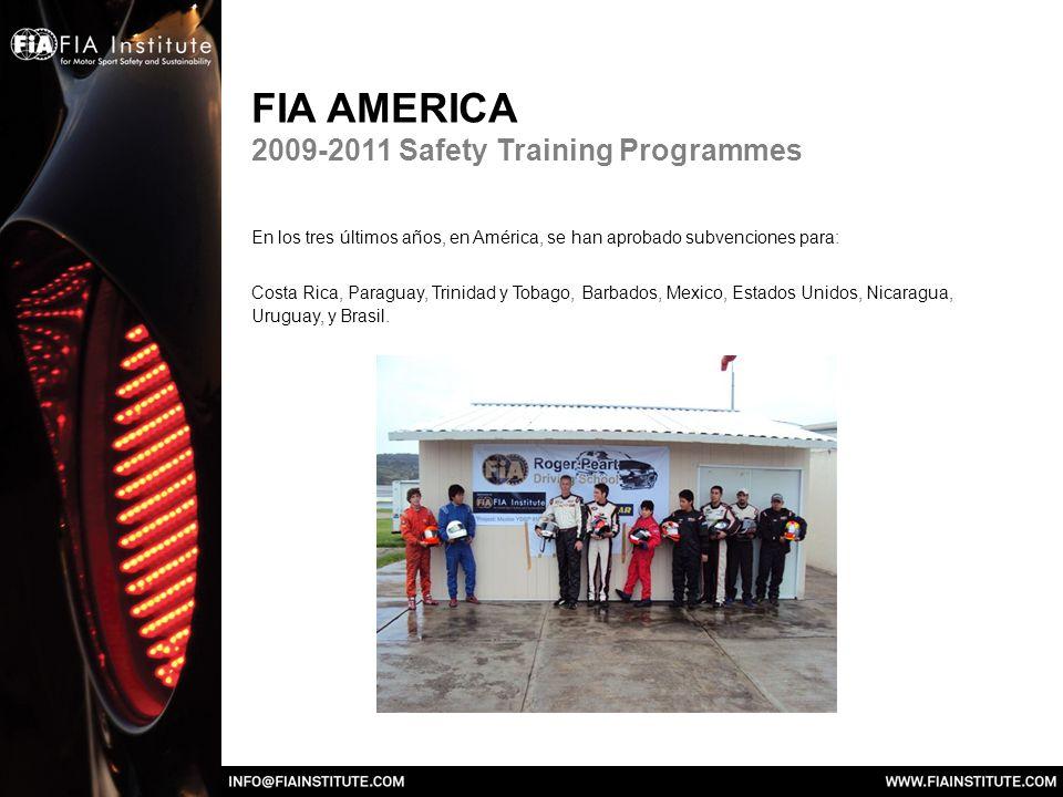 FIA AMERICA 2009-2011 Safety Training Programmes En los tres últimos años, en América, se han aprobado subvenciones para: Costa Rica, Paraguay, Trinidad y Tobago, Barbados, Mexico, Estados Unidos, Nicaragua, Uruguay, y Brasil.