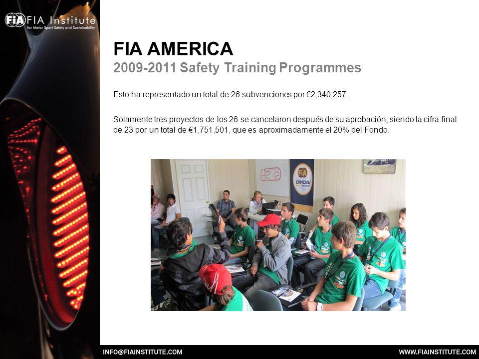FIA AMERICA 2009-2011 Safety Training Programmes Esto ha representado un total de 26 subvenciones por 2,340,257.