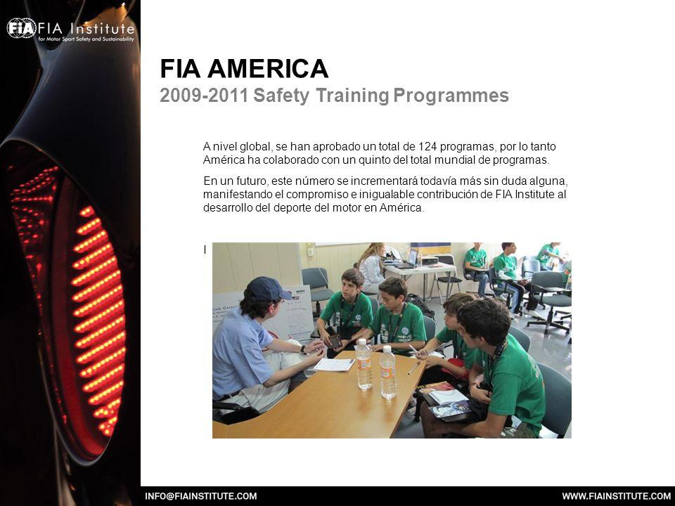 FIA AMERICA 2009-2011 Safety Training Programmes A nivel global, se han aprobado un total de 124 programas, por lo tanto América ha colaborado con un quinto del total mundial de programas.