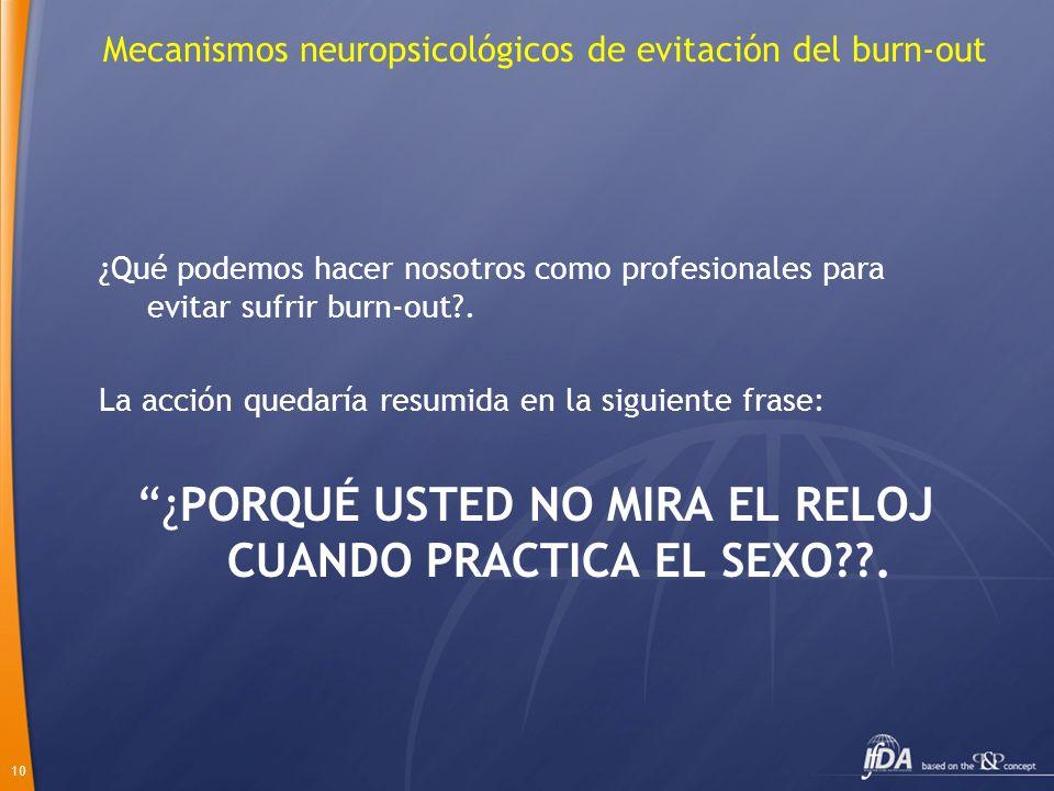 10 Mecanismos neuropsicológicos de evitación del burn-out ¿Qué podemos hacer nosotros como profesionales para evitar sufrir burn-out?. La acción queda