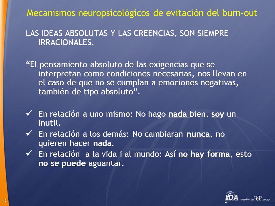 12 Mecanismos neuropsicológicos de evitación del burn-out LAS IDEAS ABSOLUTAS Y LAS CREENCIAS, SON SIEMPRE IRRACIONALES. El pensamiento absoluto de la