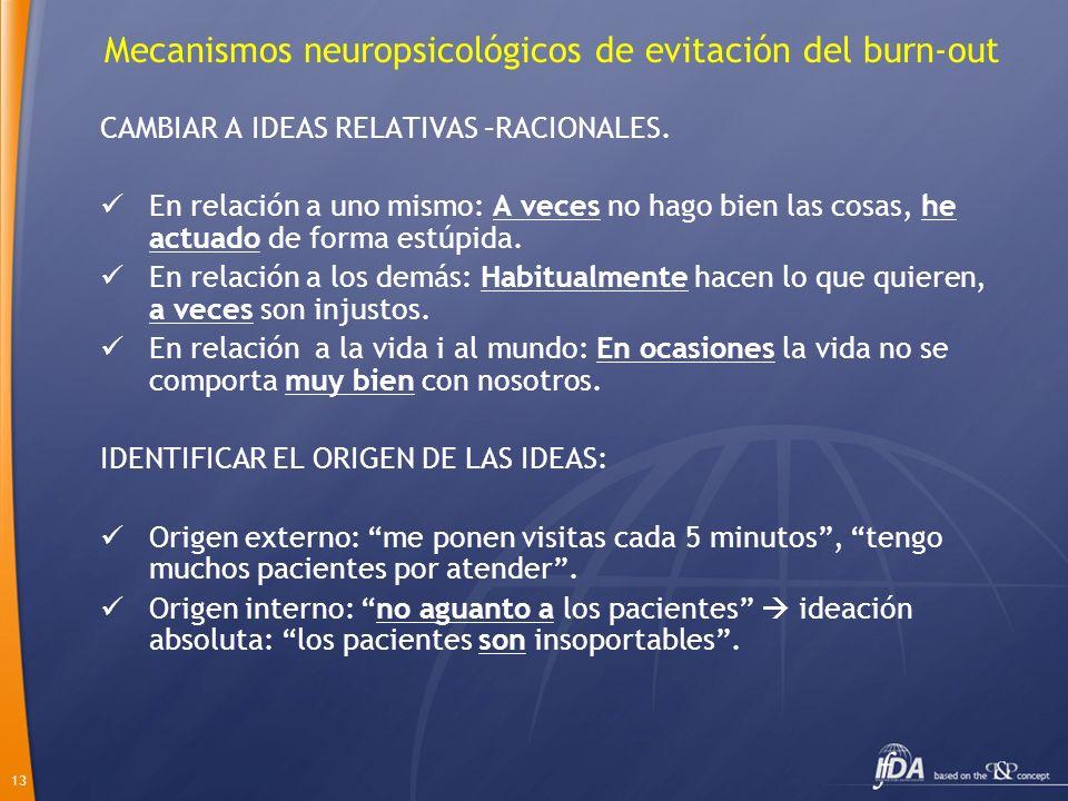 13 Mecanismos neuropsicológicos de evitación del burn-out CAMBIAR A IDEAS RELATIVAS –RACIONALES. En relación a uno mismo: A veces no hago bien las cos