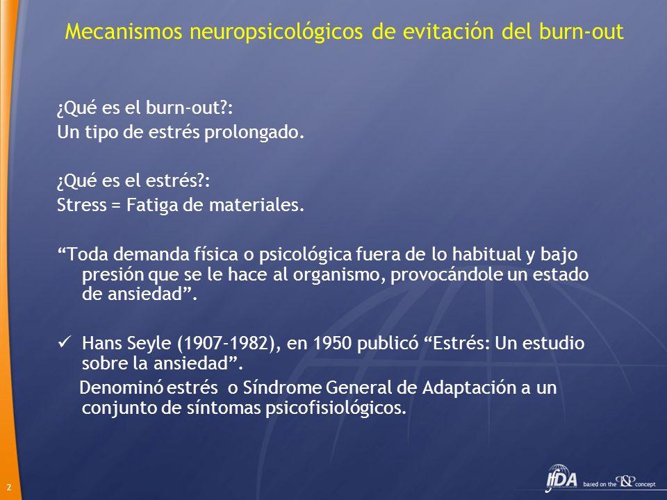 2 Mecanismos neuropsicológicos de evitación del burn-out ¿Qué es el burn-out?: Un tipo de estrés prolongado. ¿Qué es el estrés?: Stress = Fatiga de ma