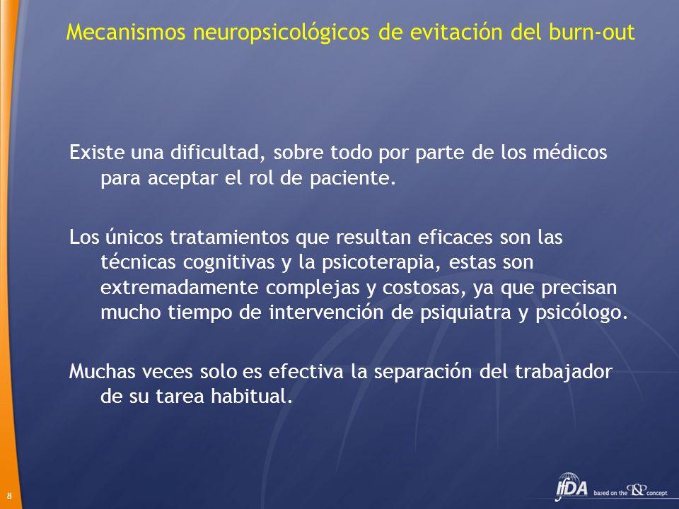 8 Mecanismos neuropsicológicos de evitación del burn-out Existe una dificultad, sobre todo por parte de los médicos para aceptar el rol de paciente. L