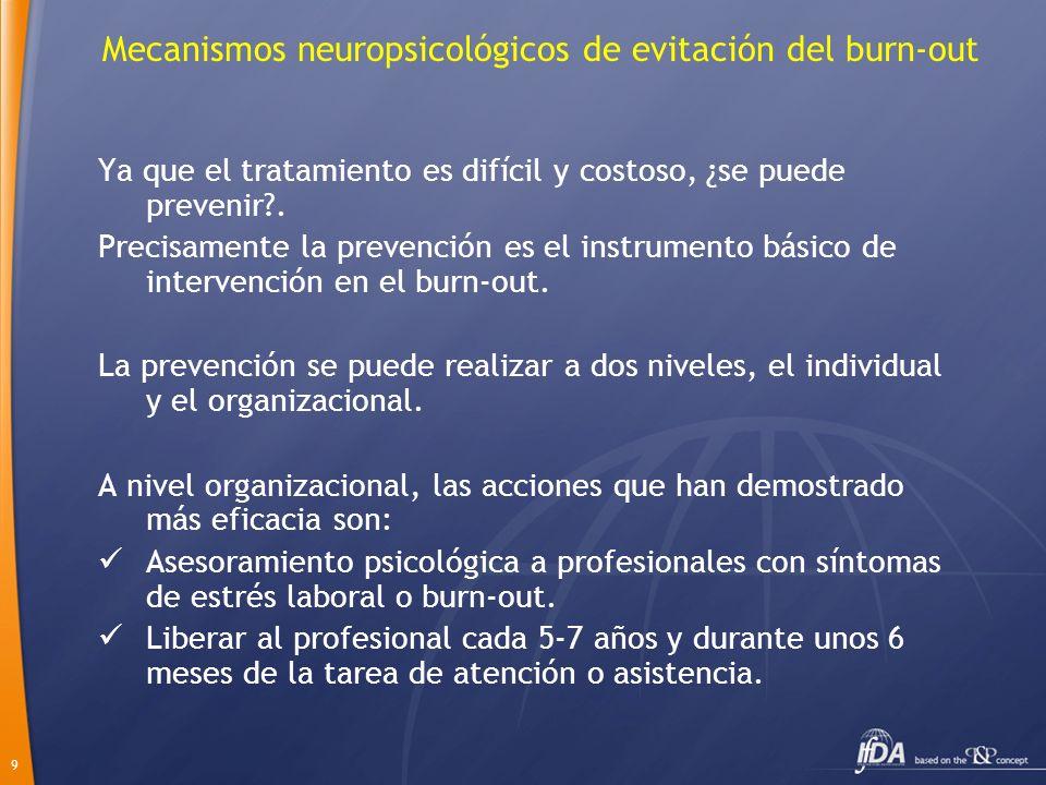 9 Mecanismos neuropsicológicos de evitación del burn-out Ya que el tratamiento es difícil y costoso, ¿se puede prevenir?. Precisamente la prevención e