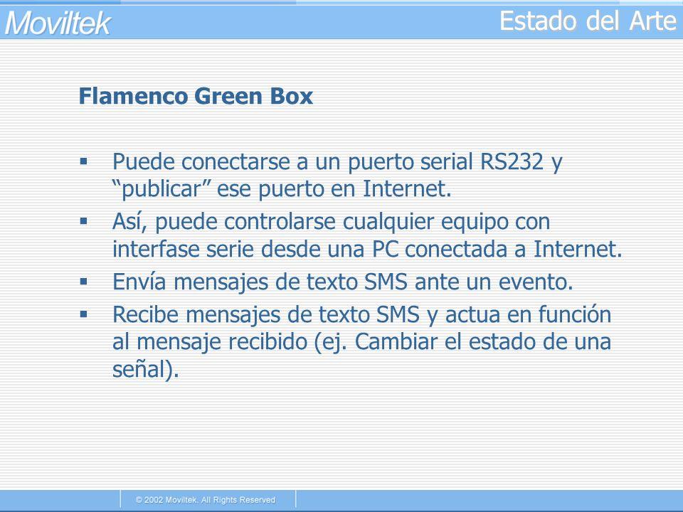 Estado del Arte Flamenco Green Box Puede conectarse a un puerto serial RS232 y publicar ese puerto en Internet. Así, puede controlarse cualquier equip