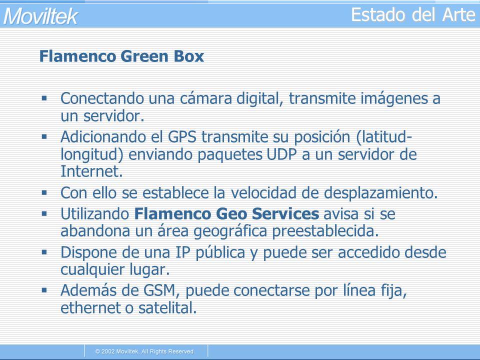 Estado del Arte Flamenco Green Box Conectando una cámara digital, transmite imágenes a un servidor. Adicionando el GPS transmite su posición (latitud-