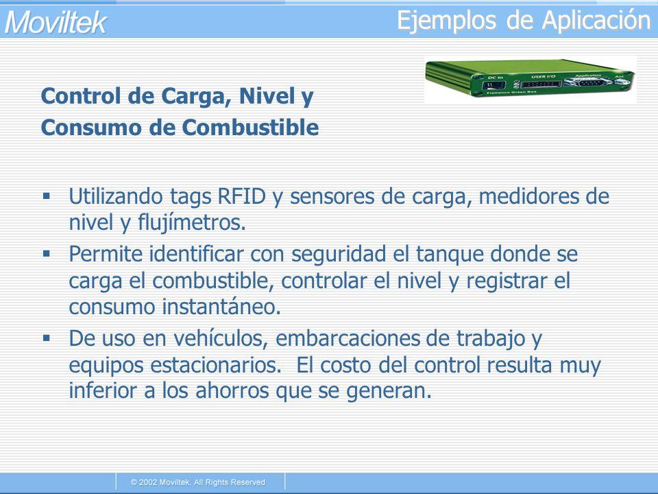 Ejemplos de Aplicación Control de Carga, Nivel y Consumo de Combustible Utilizando tags RFID y sensores de carga, medidores de nivel y flujímetros. Pe