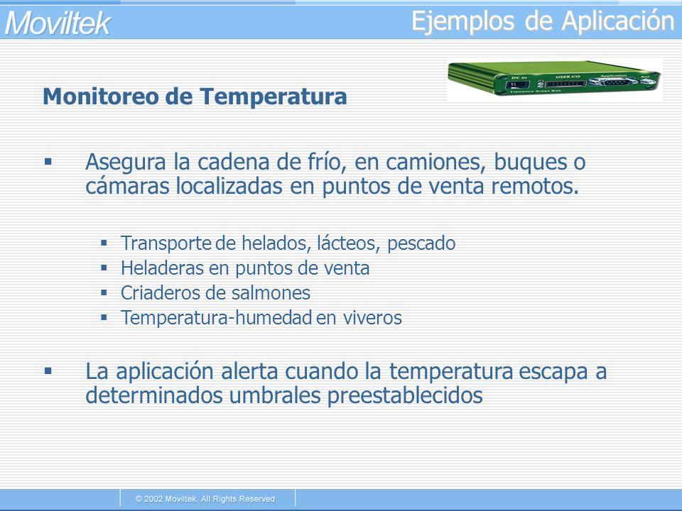 Ejemplos de Aplicación Monitoreo de Temperatura Asegura la cadena de frío, en camiones, buques o cámaras localizadas en puntos de venta remotos. Trans