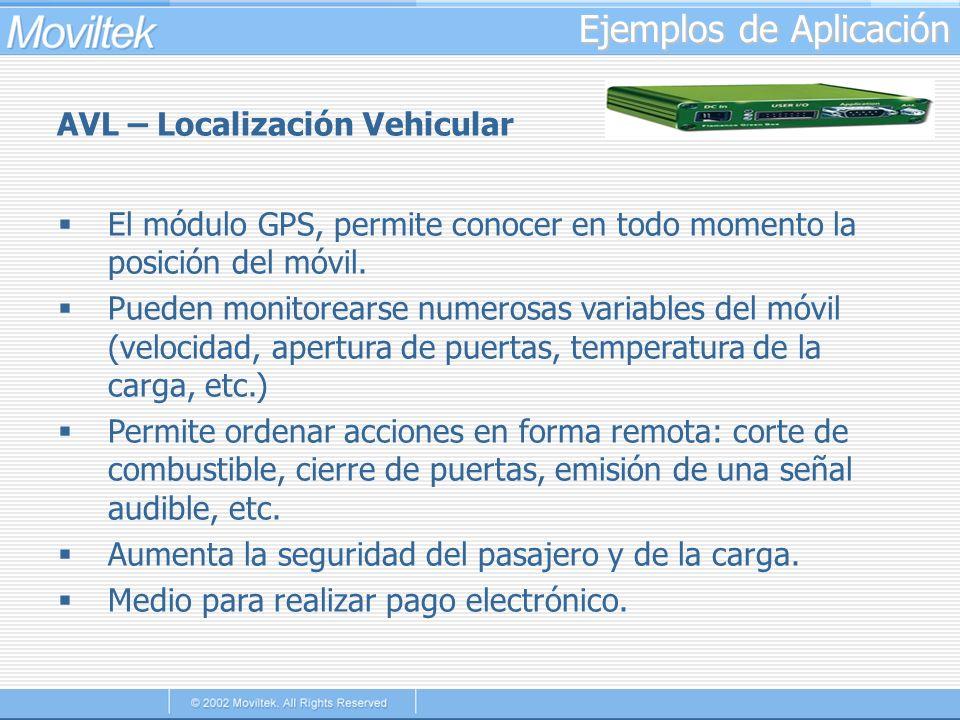 Ejemplos de Aplicación AVL – Localización Vehicular El módulo GPS, permite conocer en todo momento la posición del móvil. Pueden monitorearse numerosa