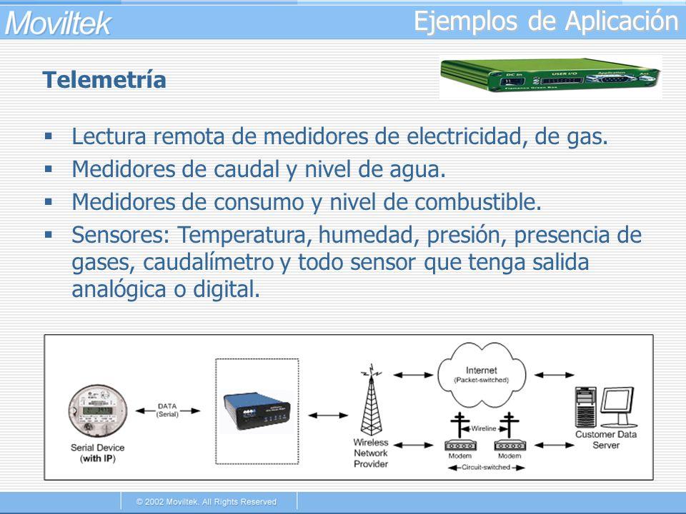 Ejemplos de Aplicación Telemetría Lectura remota de medidores de electricidad, de gas. Medidores de caudal y nivel de agua. Medidores de consumo y niv