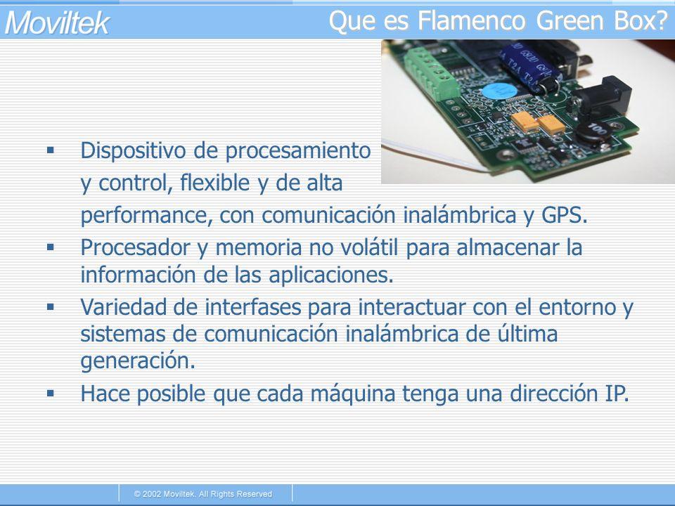 Que es Flamenco Green Box? Dispositivo de procesamiento y control, flexible y de alta performance, con comunicación inalámbrica y GPS. Procesador y me