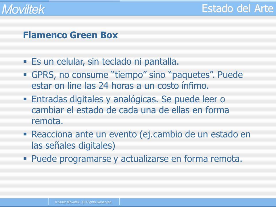 Estado del Arte Flamenco Green Box Es un celular, sin teclado ni pantalla. GPRS, no consume tiempo sino paquetes. Puede estar on line las 24 horas a u