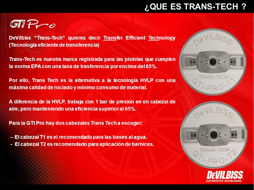 DeVilbiss Trans-Tech quieres decir Transfer Efficient Technology (Tecnología eficiente de transferencia) Trans-Tech es nuestra marca registrada para l