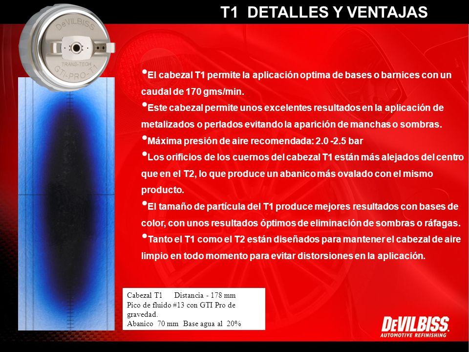 Home Tour of the Gun Performance Paint Charts Maintenance Technical Info Marketing El cabezal T2 tiene el mayor caudal de producto de toda la gama, por ello es el más recomendado para la gama actual de barnices VOC o HS.