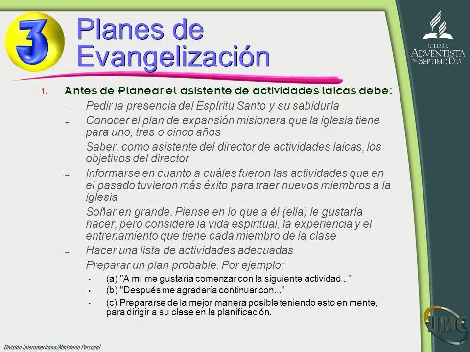 Planes de Evangelización 1. Antes de Planear el asistente de actividades laicas debe: –P–Pedir la presencia del Espíritu Santo y su sabiduría –C–Conoc
