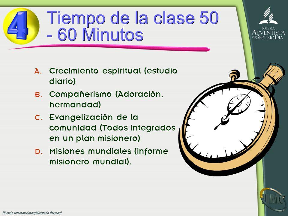 Tiempo de la clase 50 - 60 Minutos A. Crecimiento espiritual (estudio diario) B. Compañerismo (Adoración, hermandad) C. Evangelización de la comunidad
