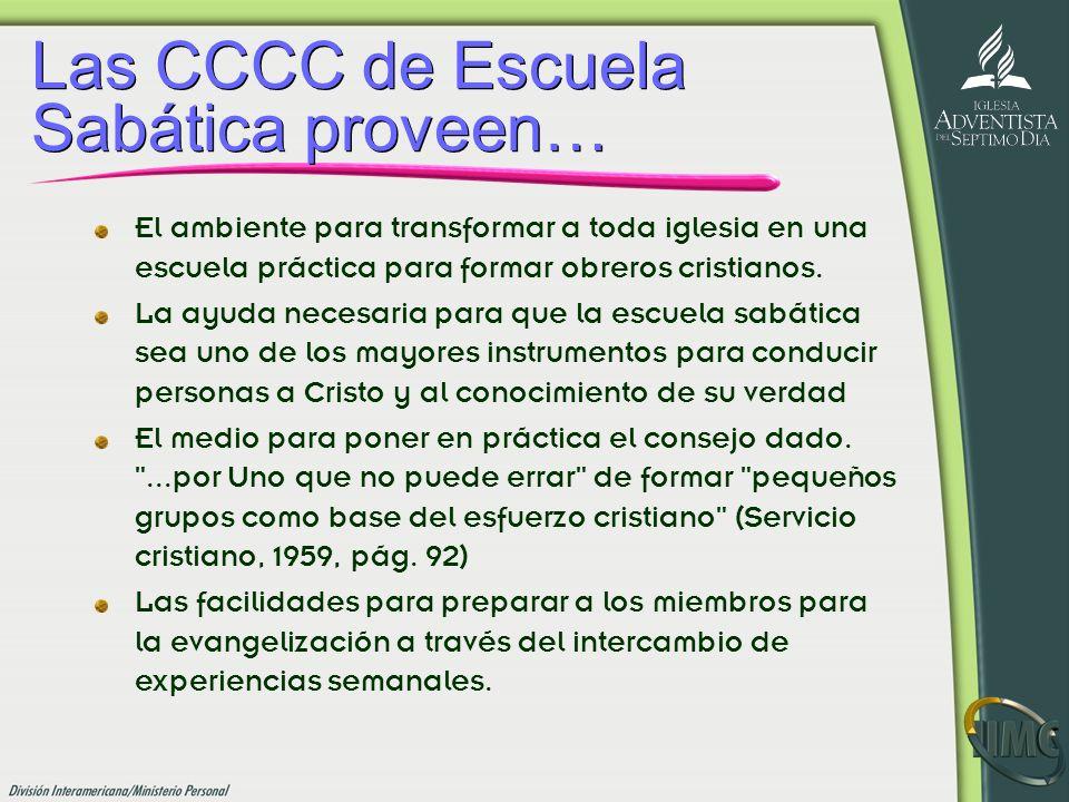 Las CCCC de Escuela Sabática proveen… El ambiente para transformar a toda iglesia en una escuela práctica para formar obreros cristianos. La ayuda nec