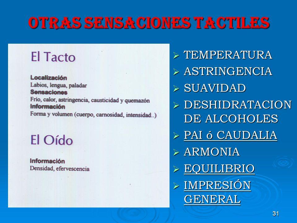 31 OTRAS SENSACIONES TACTILES TEMPERATURA TEMPERATURA ASTRINGENCIA ASTRINGENCIA SUAVIDAD SUAVIDAD DESHIDRATACION DE ALCOHOLES DESHIDRATACION DE ALCOHO