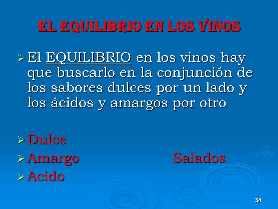 34 EL EQUILIBRIO EN LOS VINOS El EQUILIBRIO en los vinos hay que buscarlo en la conjunción de los sabores dulces por un lado y los ácidos y amargos po