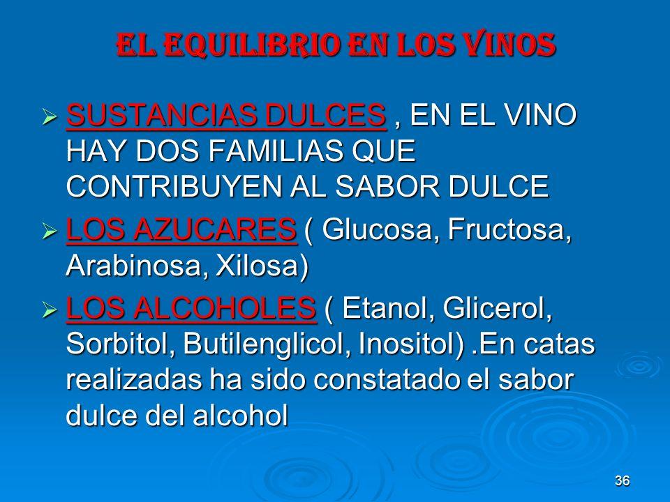 36 EL EQUILIBRIO EN LOS VINOS SUSTANCIAS DULCES, EN EL VINO HAY DOS FAMILIAS QUE CONTRIBUYEN AL SABOR DULCE SUSTANCIAS DULCES, EN EL VINO HAY DOS FAMI