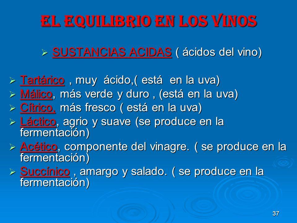 37 EL EQUILIBRIO EN LOS VINOS SUSTANCIAS ACIDAS ( ácidos del vino) SUSTANCIAS ACIDAS ( ácidos del vino) Tartárico, muy ácido,( está en la uva) Tartári