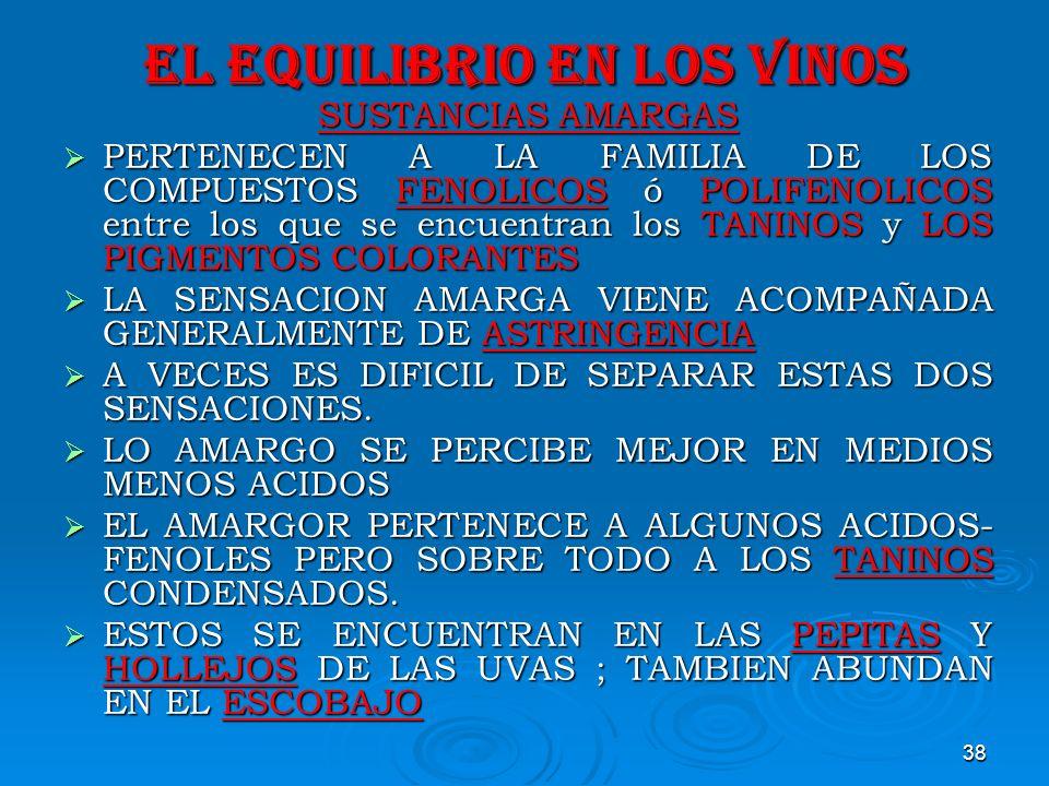 38 EL EQUILIBRIO EN LOS VINOS SUSTANCIAS AMARGAS PERTENECEN A LA FAMILIA DE LOS COMPUESTOS FENOLICOS ó POLIFENOLICOS entre los que se encuentran los T