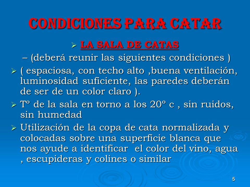 5 CONDICIONES PARA CATAR LA SALA DE CATAS LA SALA DE CATAS – (deberá reunir las siguientes condiciones ) – (deberá reunir las siguientes condiciones )
