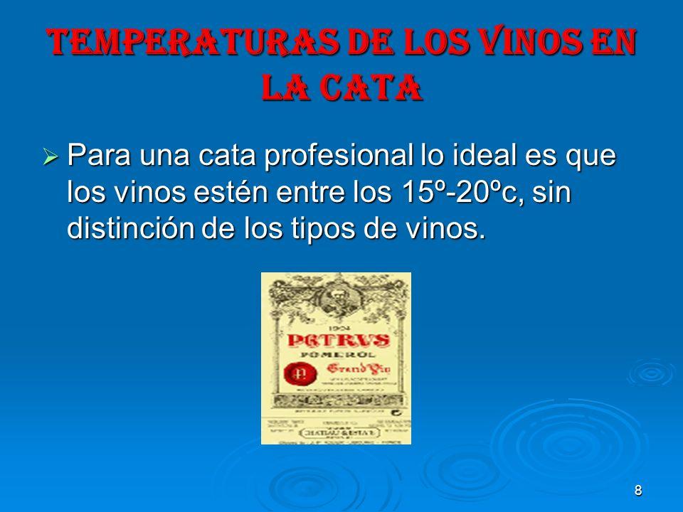 8 TEMPERATURAS DE LOS VINOS EN LA CATA Para una cata profesional lo ideal es que los vinos estén entre los 15º-20ºc, sin distinción de los tipos de vi