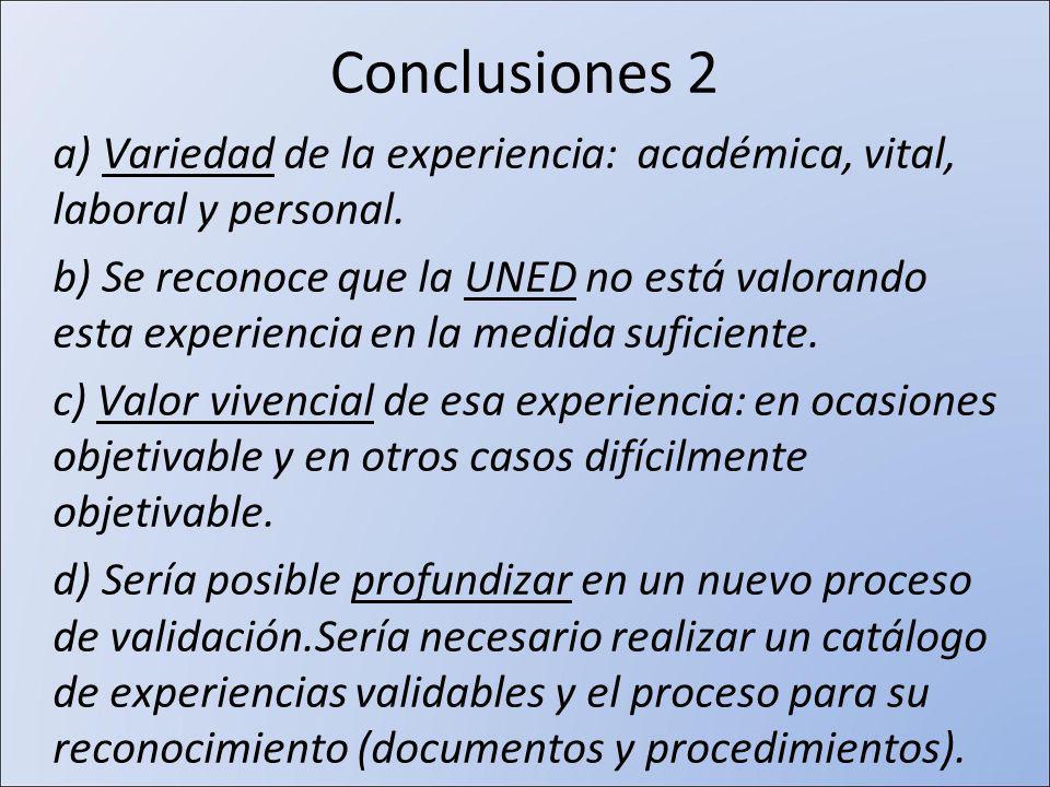 Conclusiones 2 a) Variedad de la experiencia: académica, vital, laboral y personal.