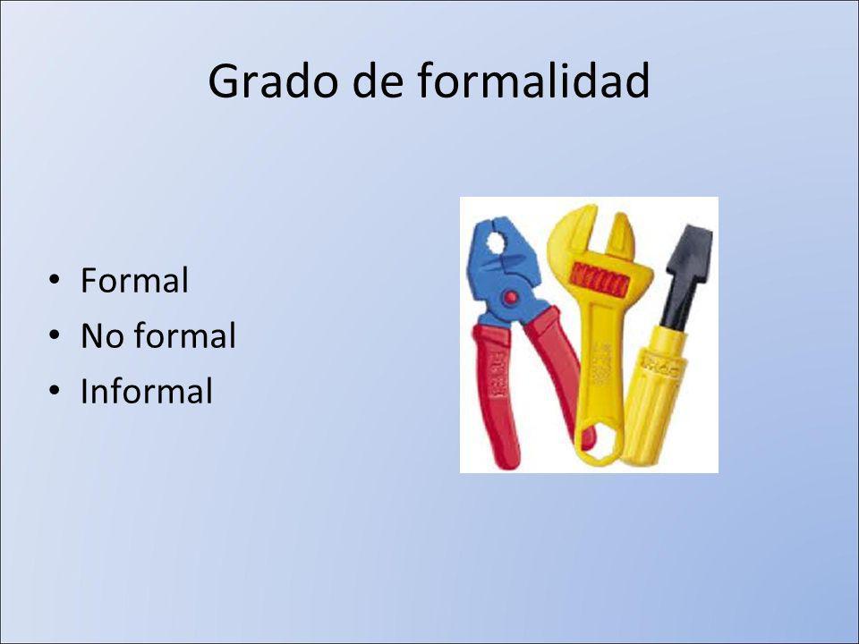 Grado de formalidad Formal No formal Informal