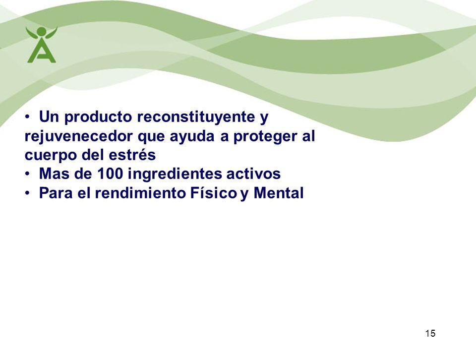15 Un producto reconstituyente y rejuvenecedor que ayuda a proteger al cuerpo del estrés Mas de 100 ingredientes activos Para el rendimiento Físico y