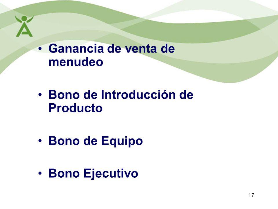 17 Ganancia de venta de menudeo Bono de Introducción de Producto Bono de Equipo Bono Ejecutivo